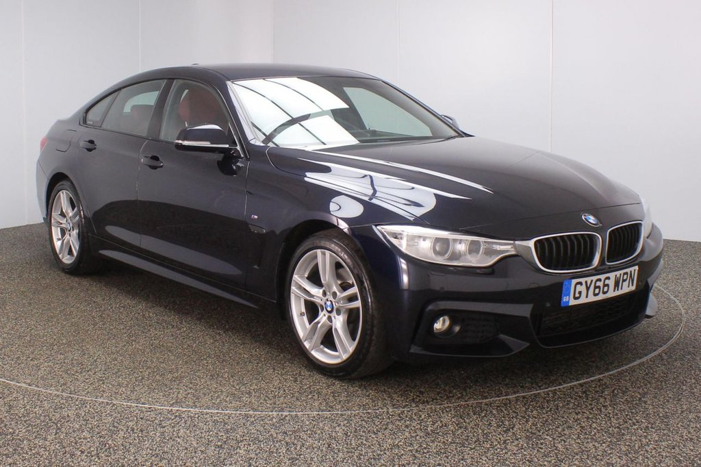 USED 2016 66 BMW 4 SERIES GRAN COUPE 2.0 420D M SPORT GRAN COUPE 4DR PRO NAV 1 OWNER AUTO 188 BHP FULL BMW SERVICE HISTORY + £30 12 MONTHS ROAD TAX + HEATED LEATHER SEATS + SATELLITE NAVIGATION PROFESSIONAL + PARKING SENSOR + BLUETOOTH + CRUISE CONTROL + CLIMATE CONTROL + MULTI FUNCTION WHEEL + XENON HEADLIGHTS + DAB RADIO + ELECTRIC WINDOWS + RADIO/CD/AUX/USB + ELECTRIC MIRRORS + 18 INCH ALLOY WHEELS