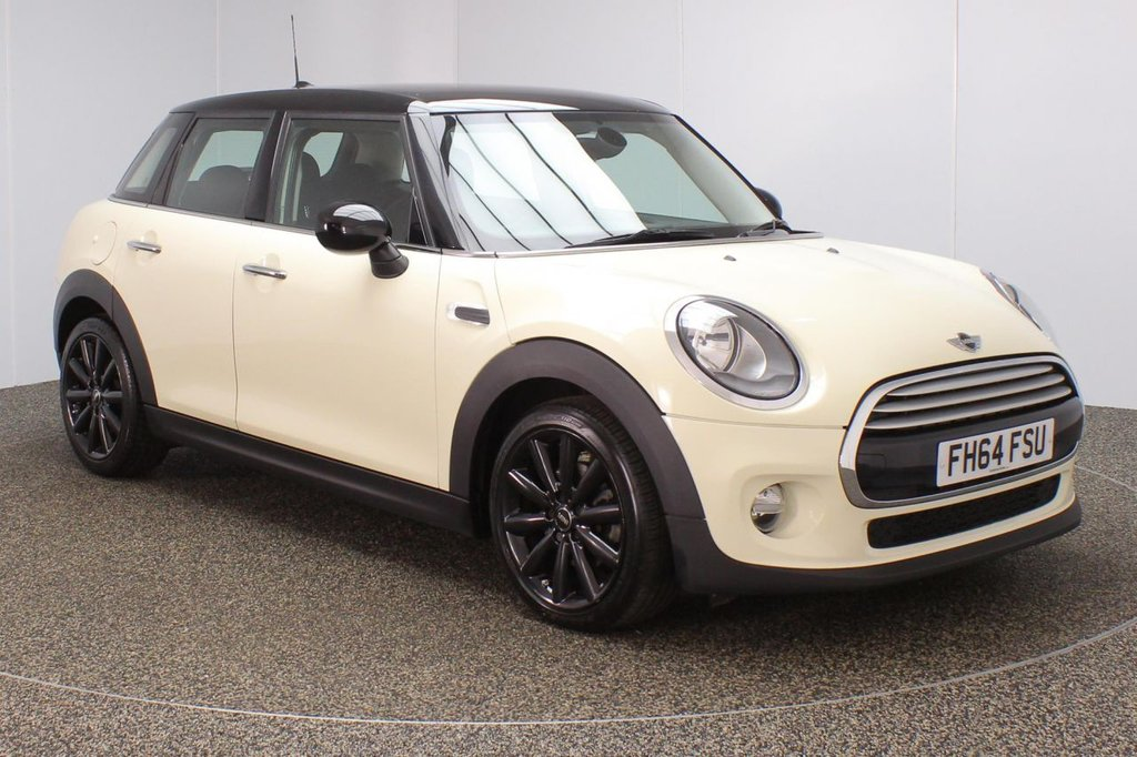 USED 2014 64 MINI HATCH COOPER 1.5 COOPER D CHILI PACK 5DR 1 OWNER + SAT NAV Finished in a stunning pepper white styled with 17 inch alloys. Upon opening the drivers door you are presented with half leather interior, pro satellite navigation, bluetooth, DAB radio, cruise control, Multifunction steering wheel, MINI Excitement package, Automatic air conditioning, rain sensors, light package, MINI Connected XL, MINI Connected, chili pack, ULEZ EXEMPT