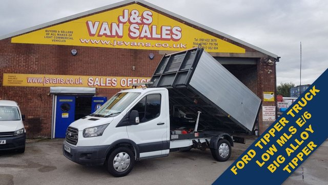 USED 2018 68 FORD TRANSIT TIPPER PICKUP LWB T350 130 BHP EURO 6  CHIPPER TREE TIPPER TRUCK LOW MLS 19K EURO 6