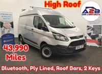 2015 FORD TRANSIT CUSTOM 2.2 TDCI 310 L1H2, Rare High Roof in SIlver with Low Mileage (43,990), Bluetooth, 3 Seats, Roof Bars, Sliding Door, Fully Ply Lined and more £9980.00