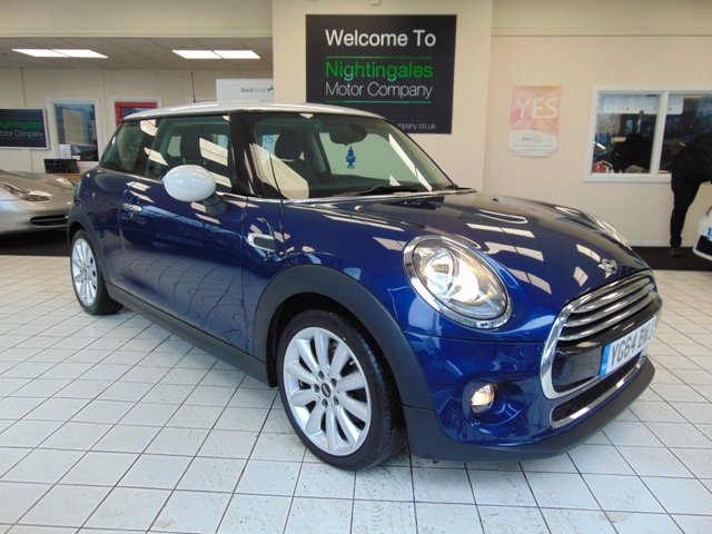 """USED 2014 64 MINI HATCH COOPER 1.5 COOPER 3d 134 BHP LOW MILES + SERVICE HISTORY + NOVEMBER MOT + DAB RADIO + CHILI PACK + 17"""" ALLOYS + HALF LEATHER TRIM + PARK DISTANCE CONTROL + METALLIC PAINT + DAYTIME RUNNING LIGHTS + REMOTE CENTRAL LOCKING + ELECTRIC WINDOWS + CLIMATE CONTROL + BLUETOOTH +"""