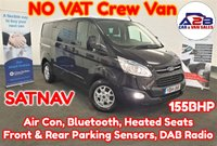 2014 FORD TRANSIT CUSTOM 2.2 TDCI 290 LIMITED Double Cab Crew Van 155 BHP in Black with NO VAT TO PAY, Factory Fitted SATNAV, Air Conditioning, Bluetooth, DAB Radio, Heated Seats, Front & Rear Parking Sensors, Alloy Wheels plus much more £12980.00
