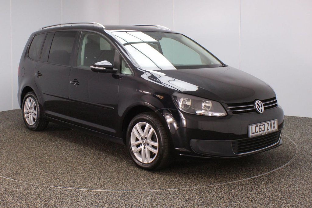 USED 2014 63 VOLKSWAGEN TOURAN 1.6 SE TDI BLUEMOTION TECHNOLOGY DSG 5DR AUTO 7 SEATS FULL SERVICE HISTORY + 7 SEATS + PARK ASSIST + PARKING SENSOR + BLUETOOTH + CRUISE CONTROL + MULTI FUNCTION WHEEL + AIR CONDITIONING + PRIVACY GLASS + DAB RADIO + ELECTRIC WINDOWS + RADIO/CD/AUX + ELECTRIC/HEATED DOOR MIRRORS + 16 INCH ALLOY WHEELS