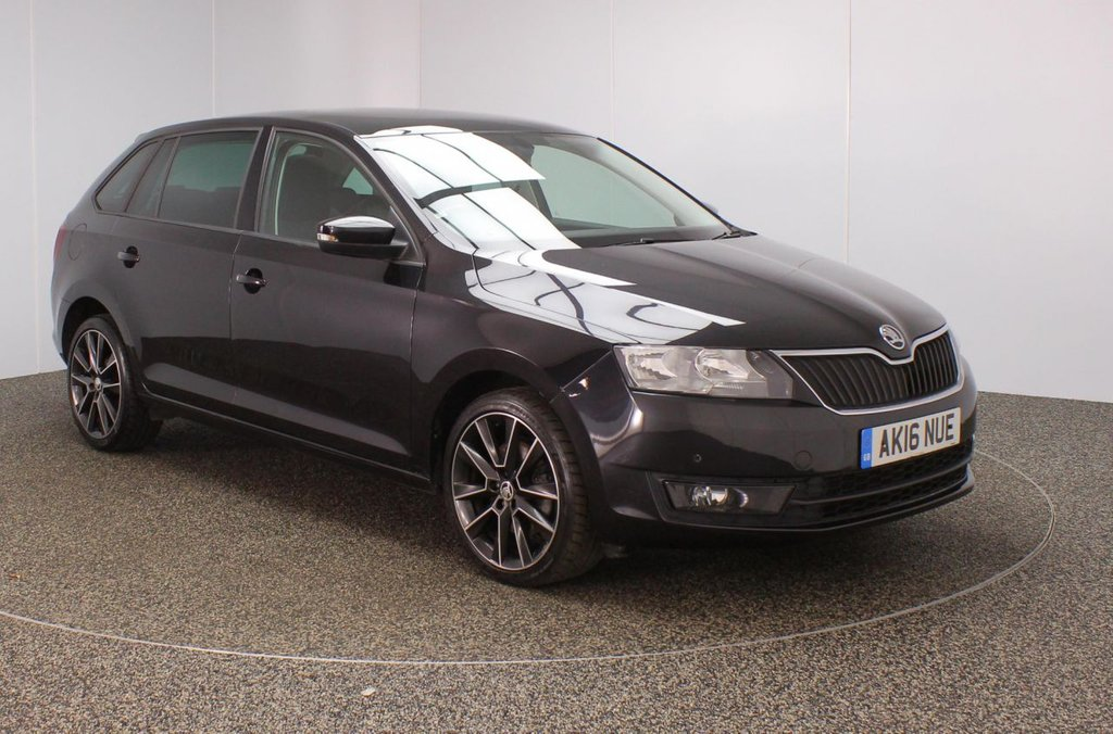 USED 2016 16 SKODA RAPID 1.6 SPACEBACK SE SPORT TDI 5DR 1 OWNER 114 BHP FULL SERVICE HISTORY + FREE 12 MONTHS ROAD TAX + SATELLITE NAVIGATION + PANORAMIC ROOF + BLUETOOTH + CLIMATE CONTROL + MULTI FUNCTION WHEEL + PRIVACY GLASS + DAB RADIO + ELECTRIC WINDOWS + ELECTRIC/HEATED DOOR MIRRORS + 17 INCH ALLOY WHEELS