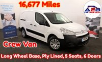 2011 CITROEN BERLINGO 1.6 HDI 725 L2 90 BHP Crew Van (5 Seats) with Very Low Mileage (16,677), CD Player, 2 Sliding Doors, One Owner from New, Ply Lining and more £5980.00