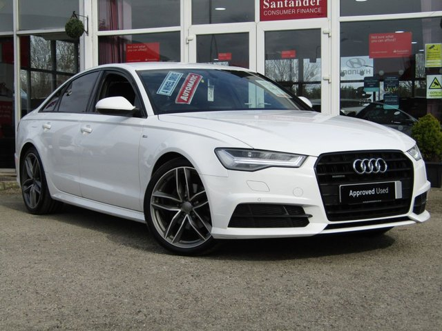 USED 2016 66 AUDI A6 2.0 TDI QUATTRO BLACK EDITION 4d 188 BHP Finished in IBIS WHITE with contrasting BLACK HEATED LEATHER. This popular New Shape Audi has genuine good looks and a luxurious feel. Great to drive and practical with loads of room for the average sized family. Features include, Sat Nav, Blue Tooth, Bose, Cruise Control, Parking Sensors, DAB, Heated Electric Leather Memory Seats and much more.  Warrington Audi Dealer Serviced at 18536 miles, 36631 miles and at 55042 miles. Comes with 12 Months MOT.