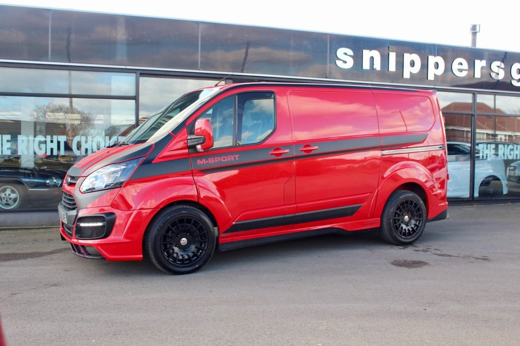 """USED 2015 65 FORD TRANSIT CUSTOM 2.2 290 LR P/V 124 BHP Grerat Specification Race Red Transit Custom SWB, Full Wide Arch M Sport Body Kit, New 18"""" Alloys and Tyres, 2 Keys and Book Pack, Full Service History - Just Serviced."""