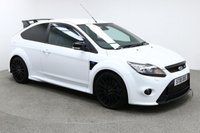 USED 2010 FORD FOCUS RS 2.5 RS 3d 300 BHP Finished in stunning metallic Frozen White + 19 inch alloys + suede / cloth interior + Bluetooth + DAB Radio + Service history + In car entertainment - CD / AUX / IPOD / USB + Air con + Dual climate control + Electric mirrors + Electric windows + Auto lights / wipers + Rear parking sensors + ULEZ EXEMPT