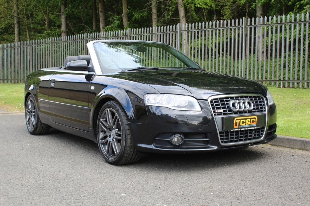 USED 2009 09 AUDI A4 3.0 TDI QUATTRO S LINE SPECIAL EDITION 2d 229 BHP A STUNNING HIGH SPEC 3 LITRE CONVERTIBLE WITH SAT NAV, BOSE AND FULL BLACK LEATHER!!!