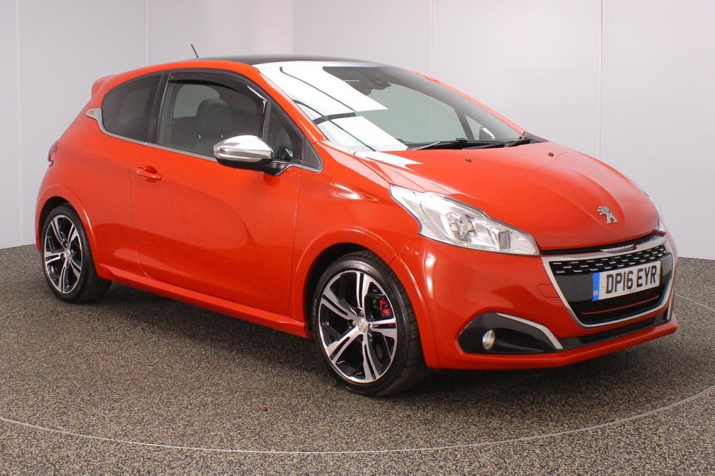 USED 2016 16 PEUGEOT 208 1.6 THP GTI PRESTIGE 3DR 208 BHP SERVICE HISTORY + HEATED HALF LEATHER SEATS + SATELLITE NAVIGATION + PANORAMIC ROOF + PARKING SENSOR + BLUETOOTH + CRUISE CONTROL + CLIMATE CONTROL + MULTI FUNCTION WHEEL + DAB RADIO + ELECTRIC WINDOWS + ELECTRIC/HEATED DOOR MIRRORS + 17 INCH ALLOY WHEELS
