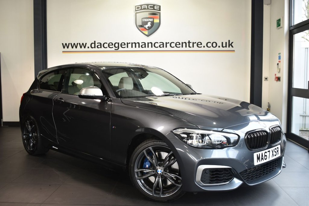 USED 2017 67 BMW 1 SERIES 3.0 M140I SHADOW EDITION 3DR 335 BHP Finished in a stunning mineral metallic grey styled with alloys. Upon entry you are presented with full oyster leather interior, full service history, satellite navigation, bluetooth, Harman/Kardon sound system, cruise contro with auto brake function, parking distance control, heated sport seats, M sport braking system, sun protection glazing, light package, DAB radio, special edition, anthracite headlining, extended scope instrument panel, teleservices, connected drive services, LED headlights,