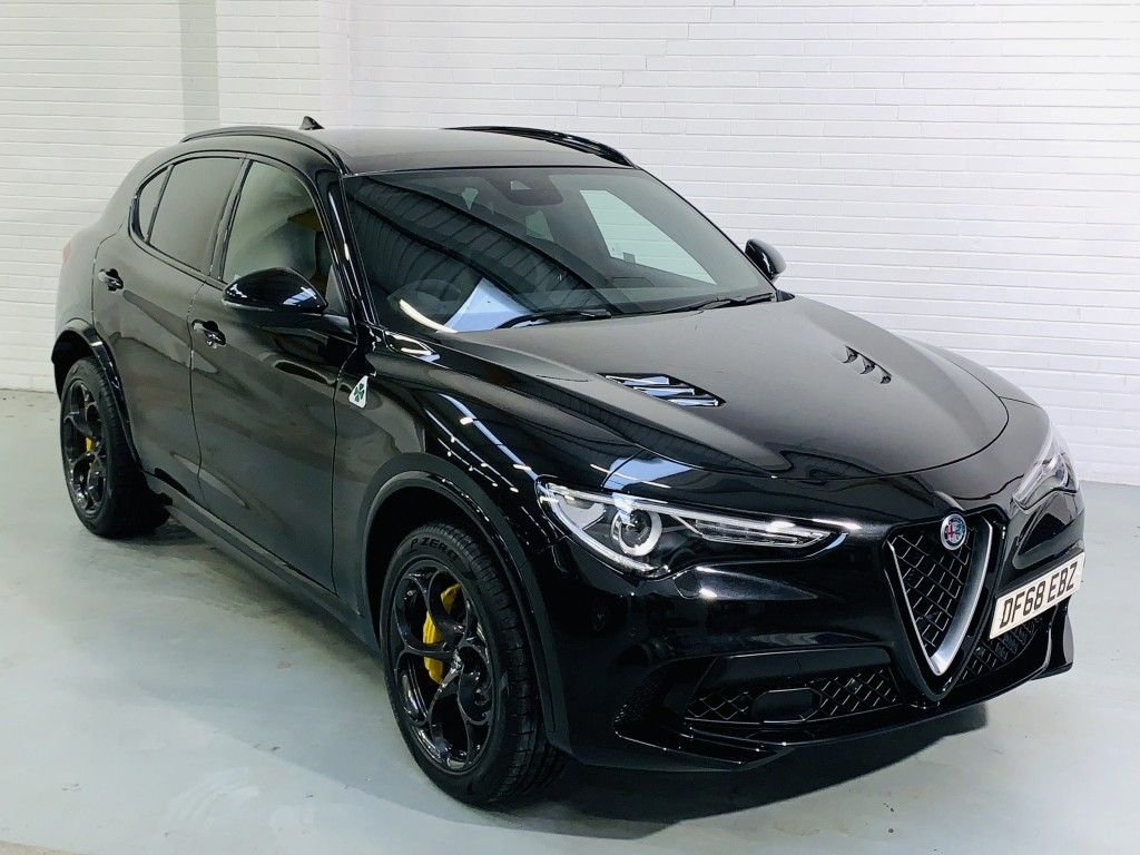 USED 2018 68 ALFA ROMEO STELVIO 2.9 V6 BITURBO QUADRIFOGLIO 5DR AUTOMATIC Available Now. HK Audio, Glass Roof, Carbon Trim, Heated Steering Wheel, Privacy Glass, Yellow Calipers