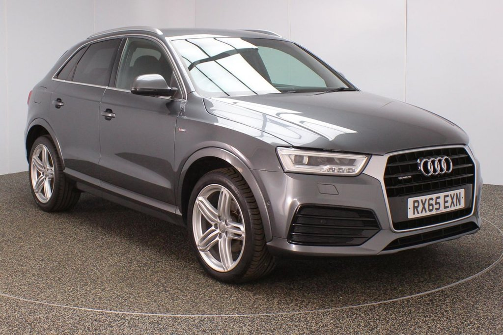 USED 2015 65 AUDI Q3 2.0 TDI QUATTRO S LINE PLUS 5DR AUTO 182 BHP Finished in a stunning grey styled with 19'' alloys. Upon entry you are presented with half leather interior, satellite navigation, bluetooth, cruise control, parking sensors, active park assist, multi function steering wheel, dual climate control, air conditioning, rain sensors, heated front seats.