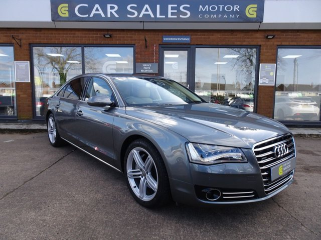 USED 2013 63 AUDI A8 3.0 L TDI QUATTRO SPORT EXECUTIVE LWB 4d 246 BHP ONE OWNER FROM NEW, LOW MILEAGE ONLY 37K, FULLY LOADED, SAT NAV, MASSAGE SEATS, LEATHER TOO MUCH TO LIST, RECENTLY SERVICED, HPI CLEAR, 2 REMOTE KEYS