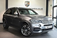 """USED 2015 15 BMW X5 3.0 M50D 5DR AUTO 376 BHP Finished in a stunning space metallic grey styled with 20"""" alloys. Upon entry you are presented with full black dakota leather interior, full service history, satellite navigation, panoramic sunroof, 7 seater, reverse camera, bluetooth, heated front/rear seats, park distance control/sensors, Harman/Kardon sound system, M sport pakcage, electric memory seats with lumbar support, headlight cleaning system, LED headlights, light package, active pedestrian protection, head up display, DAB radio, int"""
