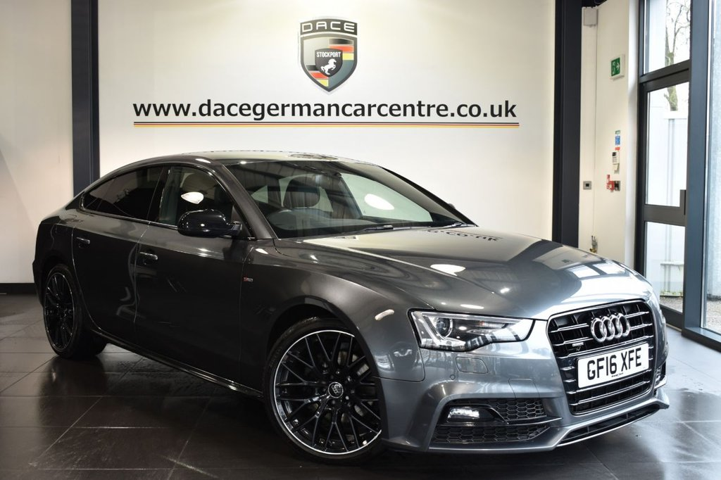 "USED 2016 16 AUDI A5 2.0 TDI QUATTRO BLACK EDITION PLUS 5DR AUTO 187 BHP Finished in a stunning daytona metallic grey styled with 19"" alloys. Upon opening the drivers door you are presented with full leather interior, full service history, satellite navigation, bluetooth, heated sport seats, bang & olufsen surround sound, XENON LIGHTS, cruise control, DAB radio, multi functional steering wheel, climate control, heated mirrors, parking sensors, ULEZ EXEMPT"