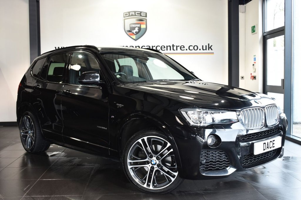 """USED 2016 M BMW X3 3.0 XDRIVE35D M SPORT 5DR AUTO 309 BHP Finished in a stunning sapphire metallic black styled with 20"""" alloys. Upon opening the drivers door you are presented with full black leather interior, full service history, satellite navigation, bluetooth, reversing camera, heated sport seats, cruise control, DAB radio, Multifunction steering wheel, automatic boot lid, Automatic air conditioning, cruise control, Rain sensors, parking sensors, ULEZ EXEMPT"""