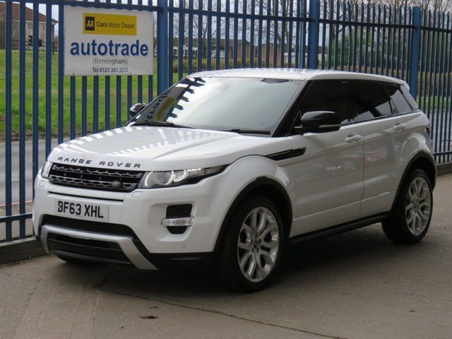"""USED 2013 63 LAND ROVER RANGE ROVER EVOQUE 2.2 SD4 DYNAMIC 5d 190 BHP Meridian ULEZ Compliant, Sat Nav, Reverse Camera ULEZ Compliant, Sat Nav, Heated electric memory leather seats, Terrain response system, Power Boot Opening and Closing, 20"""" Alloys"""