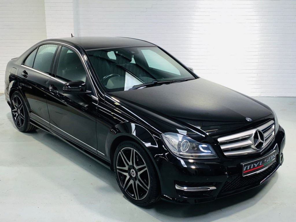 USED 2013 62 MERCEDES-BENZ C-CLASS 2.1 C220 CDI BLUEEFFICIENCY AMG SPORT PLUS 4DR AMG Sport Plus Pack, Black with Black Leather, Red Stitching, Heated Seats, Adaptive Xenons