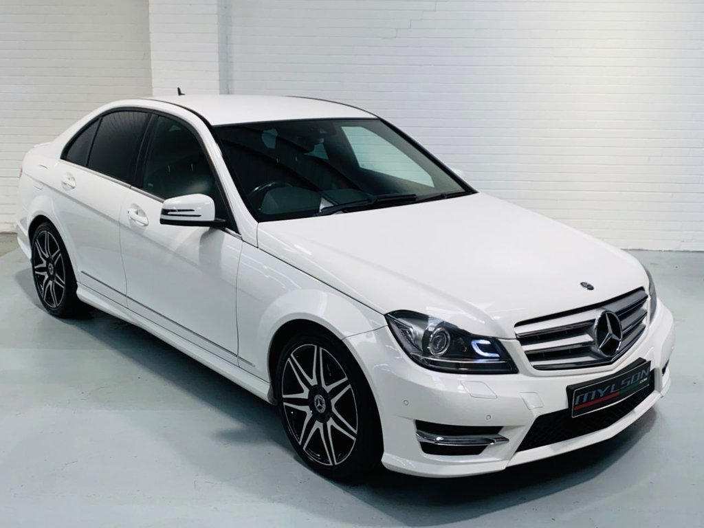 USED 2012 N MERCEDES-BENZ C-CLASS 2.1 C250 CDI BLUEEFFICIENCY AMG SPORT PLUS 4DR AUTOMATIC DUE IN.. AMG Sport Plus Pack, White with Black Leather, Red Seatbelts, Heated Seats