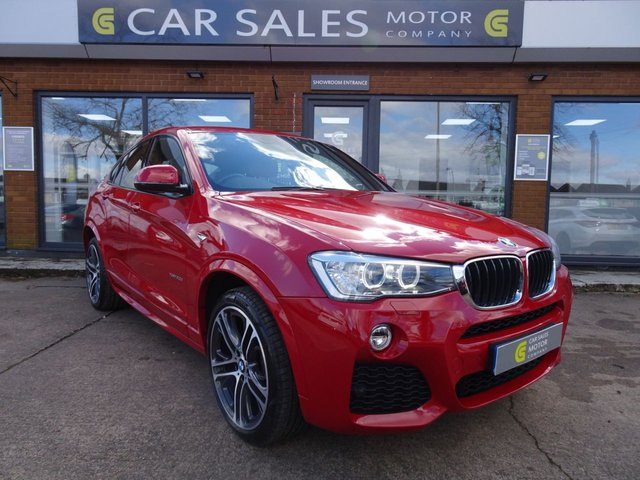 """USED 2016 16 BMW X4 2.0 XDRIVE20D M SPORT 4d 188 BHP ONE OWNER FROM NEW, BALANCE OF 5 YEAR SERVICE PACK FROM BMW, FULL SERVICE HISTORY, SAT NAV, LEATHER, 20"""" DIAMOND CUT ALLOYS, HPI CLEAR 2 REMOTE KEYS"""