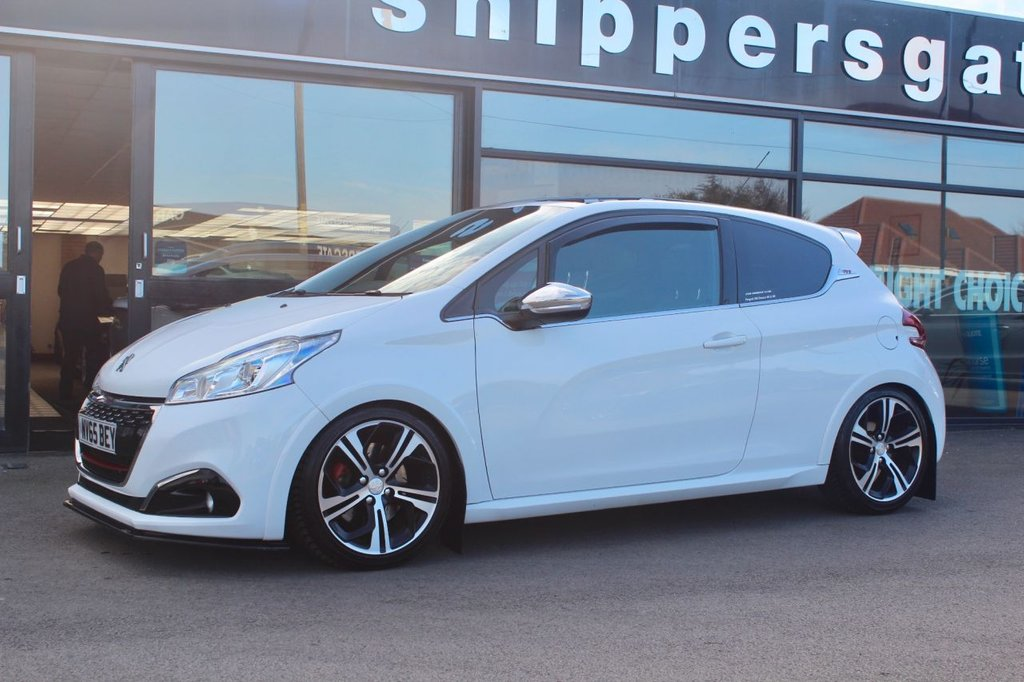 USED 2015 65 PEUGEOT 208 1.6 THP GTI PRESTIGE 3d 208 BHP 208 GTI Prestige Looks Fantastic in White, 208 GTI Prestige, Triple R Components Front Splitter, Satalite Navigation, Panoramic Sunroof With Suit Blind, LED Daytime Running Lights, Sports Seats, Peugeot Mud Flap Set, H&R Lowered Springs (standard Springs Supplied With Car), Bluetooth System, Touch Screen Infotainment System, Parking Sensors, Cruise Control, 2 Keys and Book Pack, Full Service History.