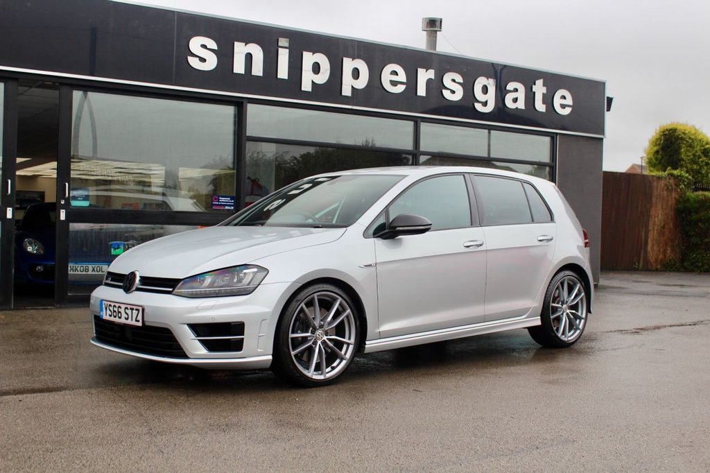 "USED 2016 66 VOLKSWAGEN GOLF 2.0 R DSG 5d 298 BHP Big Specification Reflex Silver Golf R Automatic, Winter Pack including Heated Seats, Pro Nav Satellite Navigation, Upgraded 19"" Pretotria Alloys, Vienna Leather Interior, Parking Sensors, Tyre Pressure Monitor, Bi-Xenon Headlights, 2 Keys and Book Pack, Full VW Service History."