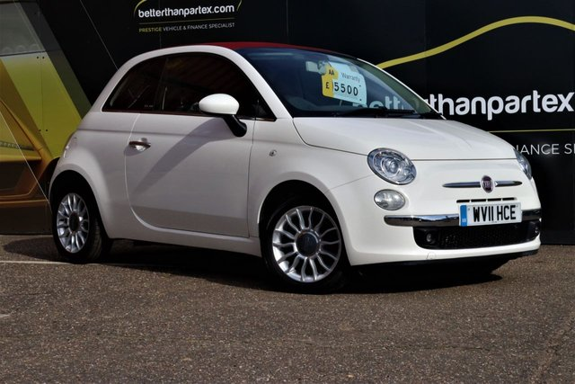 2011 11 FIAT 500 0.9 C LOUNGE CONVERTIBLE 48,000 MILES RED ROOF 3d 85 BHP