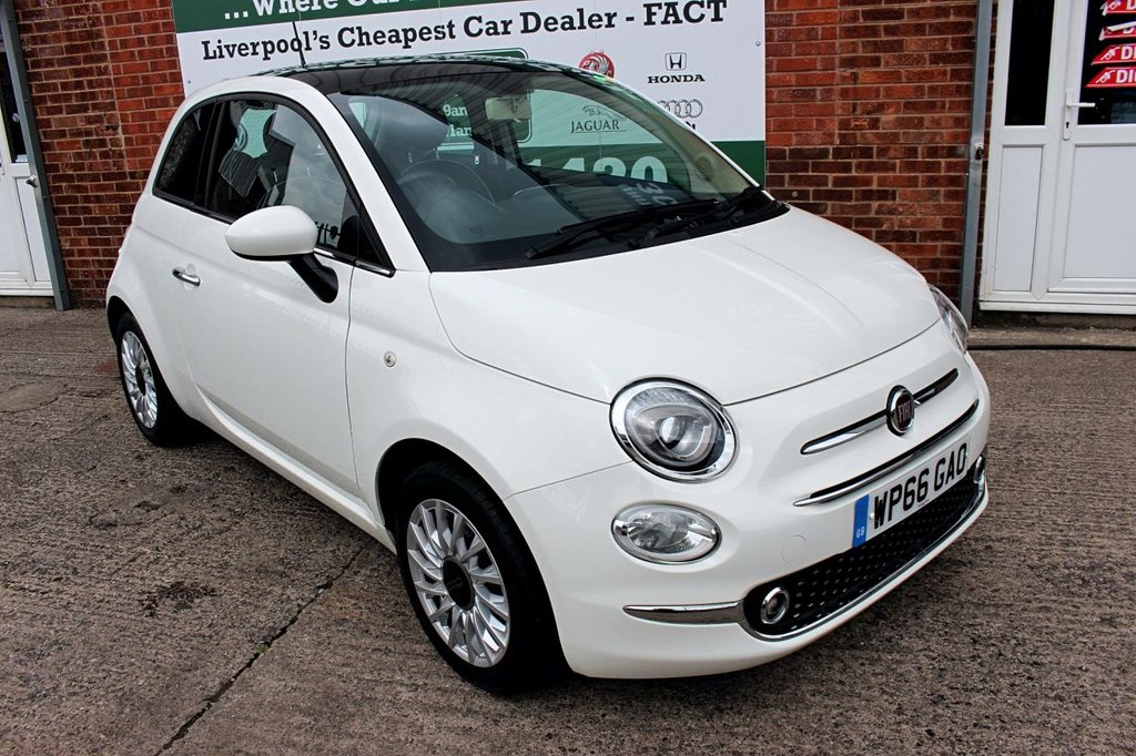 USED 2016 66 FIAT 500 1.2 LOUNGE 3d 69 BHP +PANORAMIC ROOF +BLUETOOTH.