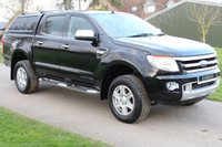 USED 2015 15 FORD RANGER 2.2 LIMITED 4X4 DCB TDCI 4d 148 BHP LIMITED - NO VAT - REAR COVER - BLACK -