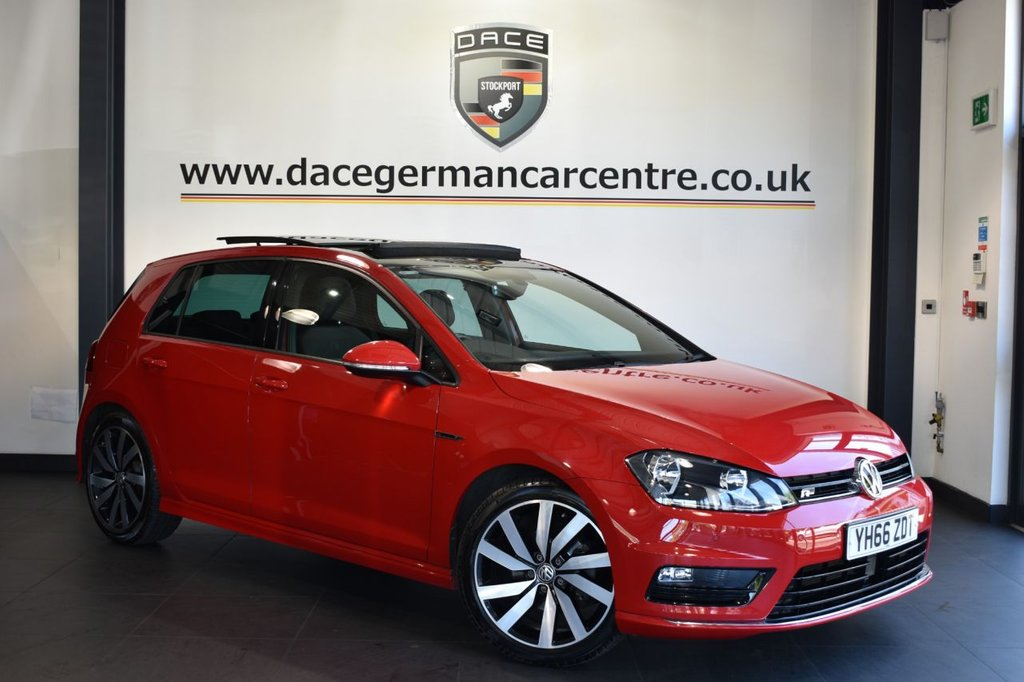 """USED 2016 66 VOLKSWAGEN GOLF 1.4 R LINE EDITION TSI ACT BMT 5DR 148 BHP Finished in a stunning red styled with alloy wheels. Upon entry you are presented with anthracite """"R"""" upholstery, satellite navigation, bluetooth, cruise control, parking sensors, DAB radio, multi function steering wheel, auto lights, heated folding door mirrors, auto stop/start function, driving mode selection for eco/sport modes, rain sensors"""