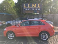USED 2014 14 AUDI Q3 2.0 TDI S LINE 5d 138 BHP STUNNING BRILLIANT RED PAINT WORK, HALF BLACK LEATHER SUEDE S LINE INTERIOR, 18 INCH 5 SPOKE ALLOY WHEELS, CLIMATE CONTROL, REAR PARKING SENSORS, BLUETOOTH, DAB RADIO, LADY OWNER, DELIVERY AVAILABLE LOW MILEAGE