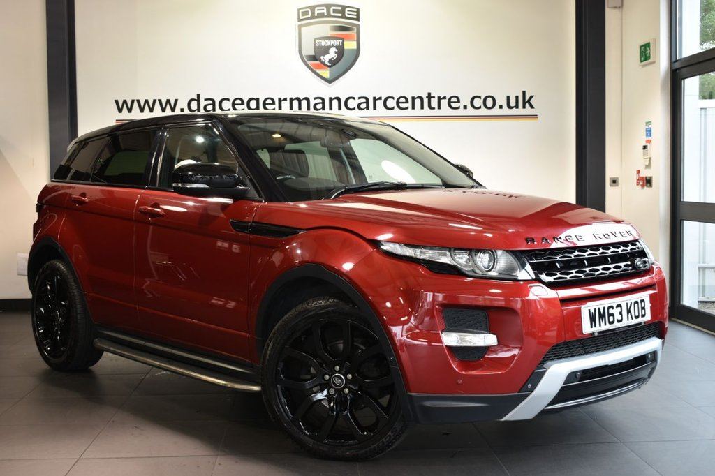 "USED 2013 63 LAND ROVER RANGE ROVER EVOQUE 2.2 SD4 DYNAMIC LUX 5DR 190 BHP Finished in a stunning red styled with 20"" alloys. Upon entry you are presented with full black leather interior, full service history, satellite navigation, full panoramic roof, Meridian sound system, bluetooth, cruise control, heated seats, heated steering wheel, DAB radio, variable terrain driving modes, parking sensors, heated steering wheel, automatic lights, climate control, air conditioning, rain sensors"