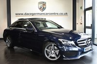 USED 2015 65 MERCEDES-BENZ C-CLASS 2.1 C250 D AMG LINE PREMIUM PLUS 4DR 204 BHP Finished in a stunning Canvasite metallic blue styled with 18 inch AMG alloy wheels. Upon entry you are presented with half leather/suede interior, glass panoramic sunroof, bluetooth, cruise control, heated seats, reverse camera, premium sound system, drivers side electric memory seats, privacy glass, parking package, mirrors package, ambient illumination, rain sensors