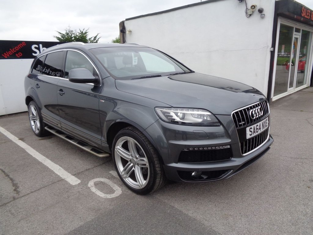 """USED 2014 64 AUDI Q7 3.0 TDI QUATTRO S LINE PLUS 5d 245 BHP 4X4 AWD 4WD Satellite navigation  7 seats  heated front sports seats  voice control system rear view camera privacy glass 21 """" alloys  fully loaded"""