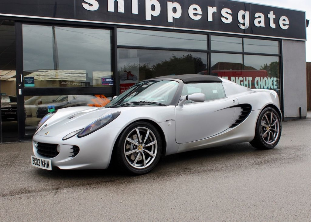 USED 2003 03 LOTUS ELISE 1.8 111S 2d 156 BHP Fantastic Condition Arctic Silver Lotus Elise 111s 156 BHP VVC Engine, Blue Alcantara Sports Seats, Upgraded Kenwood Music System with Bluetooth Music Player And USB Input Along With Upgraded Speakers, , Removable MOMO Steering Wheel, Car Cover Included, 2 Keys and Book Pack, Extensive Service History With Receipt File.