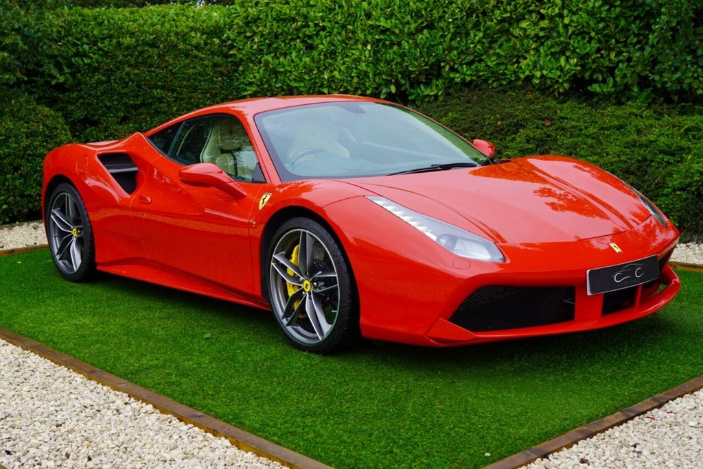 USED 2016 16 FERRARI 488 3.9 GTB 2d 660 BHP Previously Sold by a Ferrari Main Dealer this Automotive Masterpiece has Phenomenal Performance and Sublime Styling making it the Ultimate Supercar.  This Exquisite Example is Finished in Rosso Corsa with Goldrake Carbon Racing Seats + Stitched Ferrari Logo's to Headrests, 20` Forged Diamond Rims + Carbon Ceramic Brakes + Yellow Brake Calipers, Scuderia Ferrari' Shields, Sport Exhaust Pipes, Apple Car Play, Adaptive Front Light System, Carbon Fibre Rear Air Ducts, Carbon Fibre Side Air Splitter