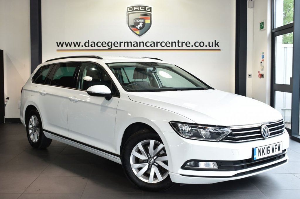 "USED 2016 16 VOLKSWAGEN PASSAT 1.6 S TDI BLUEMOTION TECHNOLOGY 5DR 119 BHP Finished in a stunning white styled with 16"" alloys. Upon entry you are presented with cloth upholstery, full service history, bluetooth, multifunction steering wheel, rain sensors, air conditioning, climate control, auto wipers, DAB radio"