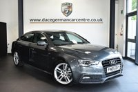 """USED 2015 65 AUDI A5 2.0 TDI S LINE 5DR AUTO 187 BHP Finished in a stunning Dakota metallic grey styled with 18"""" alloys. Upon entry you are presented with full black leather interior, full service history, satellite navigation, bluetooth, cruise control, heated seats, parking sensors, DAB radio, multi function steering wheel, rain sensors, lumbar support, air con, climate control, automatic lights, parking sensors"""