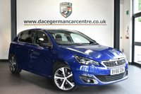 """USED 2016 66 PEUGEOT 308 1.6 BLUE HDI S/S GT LINE 5DR 120 BHP Finished in a stunning metallic blue styled with 18""""  alloys. Upon opening the drivers door you are presented with anthracite upholstery, full service history, satellite navigation, bluetooth, reversing camera, DAB radio, cruise control, multi functional steering wheel, touch screen"""