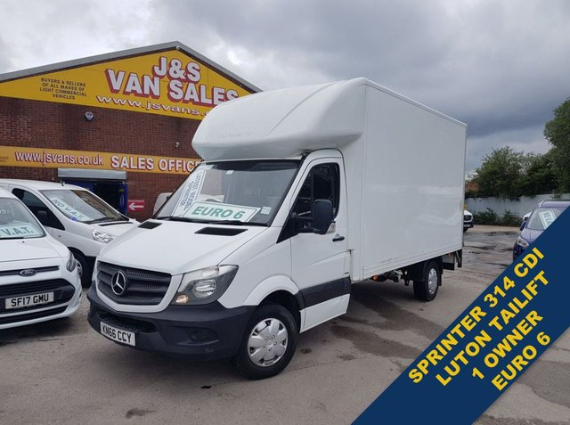 USED 2016 66 MERCEDES-BENZ SPRINTER LUTON BOX VAN TAILIFT  EURO 6 LOW CO2 F.S.H  OVER 100 MORE LOW C02 EURO 6 VANS ON SITE