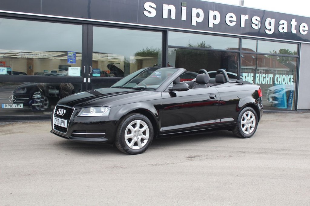 USED 2012 12 AUDI A3 1.2 TFSI 2d 103 BHP Brilliant Black Audi A3, Alloy Wheels, Remote Control Central Locking. Thatcham Category 1 Alarm and Immobiliser, Fully Automatic Electrically Operated Hood, Noise Dampening Acoustic Hood,  Electric Windows, Electrically Operated and Heated  Door, Mirrors, 2 Keys and Book Pack, Full Service History - Just Serviced.