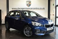 """USED 2018 18 BMW 2 SERIES ACTIVE TOURER 2.0 218D SPORT ACTIVE TOURER 5DR AUTO 148 BHP Finished in a stunning mediterranean metallic blue styled with17"""" alloys. Upon opening the drivers door you are presented with grey anthracite upholstery, full service history, satellite navigation, bluetooth, cruise control, DAB radio, Multifunction steering wheel, Performance Control, automatic boot lid, electric folding mirrors, LED Fog lights, Connected Drive Services. park assist, ULEZ EXEMPT"""