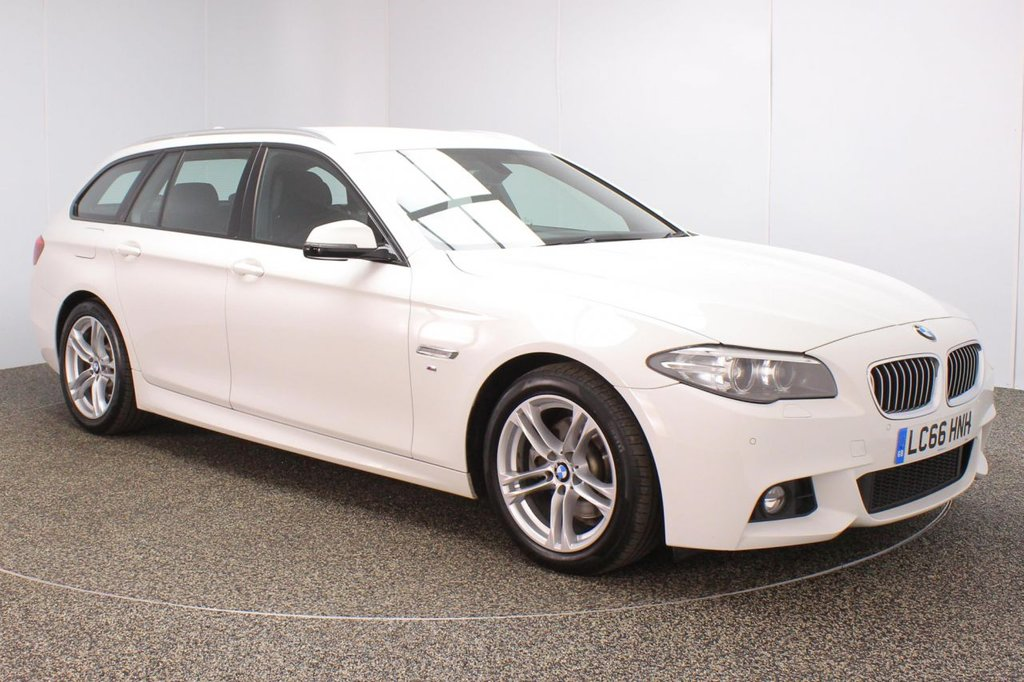 USED 2016 66 BMW 5 SERIES 2.0 520D M SPORT TOURING 5DR 1 OWNER AUTO 188 BHP SERVICE HISTORY + HEATED LEATHER SEATS + SATELLITE NAVIGATION + PARKING SENSOR + BLUETOOTH + CRUISE CONTROL + CLIMATE CONTROL + DAB RADIO + XENON HEADLIGHTS + ELECTRIC WINDOWS + ELECTRIC MIRRORS + 18 INCH ALLOY WHEELS