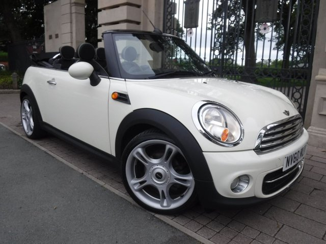 USED 2010 60 MINI CONVERTIBLE 1.6 COOPER D 2d 112 BHP *** FINANCE & PART EXCHANGE WELCOME*** DIESEL £ 20 ROAD TAX ELECTRIC ROOF CHILLI PACK FULL BLACK LEATHER HEATED SEATS DAB RADIO BLUETOOTH PHONE CRUISE CONTROL PARKING SENSORS