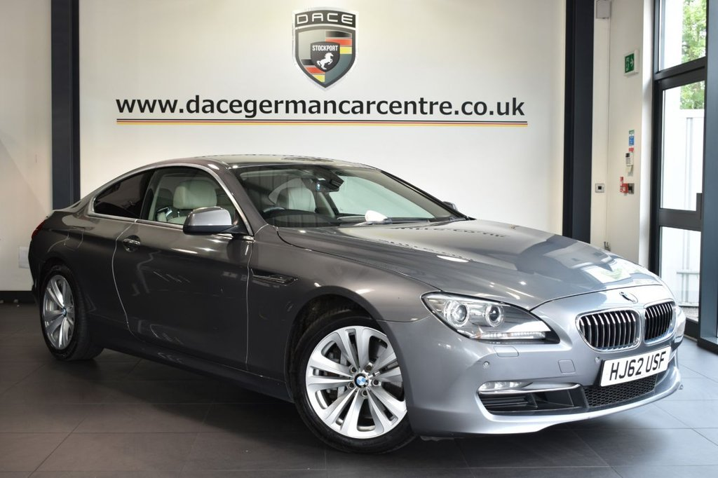 """USED 2012 62 BMW 6 SERIES 3.0 640D SE 2DR AUTO 309 BHP Finished in a stunning metallic grey styled with 18"""" alloys. Upon opening the drivers door you are presented with full leather interior, full service history, satellite navigation, bluetooth, heated seats, cruise control, multi functional steering wheel, climate control, parking sensors"""