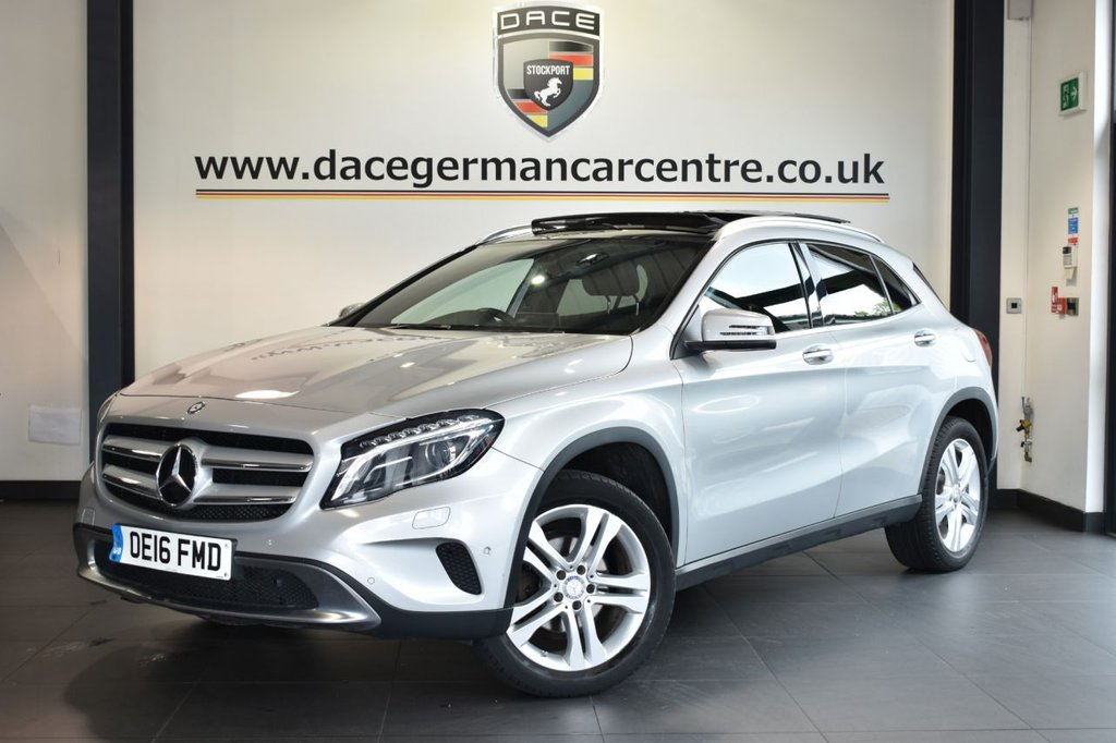 """USED 2016 16 MERCEDES-BENZ GLA-CLASS 2.1 GLA 220 D 4MATIC SPORT PREMIUM PLUS [PAN ROOF] 5DR AUTO 174 BHP Finished in a stunning polar metallic silver styled with 18"""" alloys. Upon opening the drivers door you are presented with full leather interior, full service history, satellite navigation, panoramic sliding sunroof, bluetooth, reversing camera, harman/kardon speakers, heated seats with memory, xenon lights, rain sensors, cruise control, smartphone integration package, offroad package, attention assist, automatic climate control, active park assist"""
