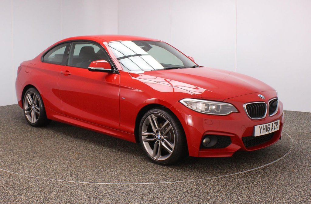 USED 2016 16 BMW 2 SERIES 2.0 218D M SPORT 2DR 148 BHP FULL BMW SERVICE HISTORY + £30 12 MONTHS ROAD TAX + SATELLITE NAVIGATION + PARKING SENSOR + BLUETOOTH + AIR CONDITIONING + MULTI FUNCTION WHEEL + XENON HEADLIGHTS + DAB RADIO + RADIO/CD/AUX/USB + ELECTRIC WINDOWS + ELECTRIC MIRRORS + 18 INCH ALLOY WHEELS
