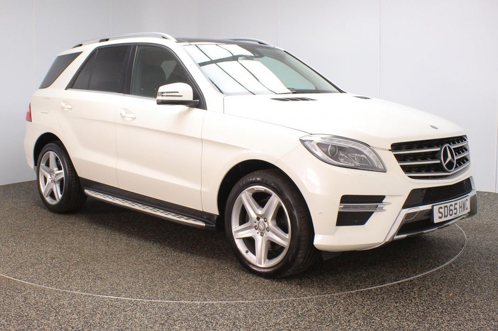 USED 2015 65 MERCEDES-BENZ M-CLASS 2.1 ML250 BLUETEC AMG LINE PREMIUM 5DR AUTO 201 BHP FULL SERVICE HISTORY + HEATED HALF LEATHER SEATS + PANORAMIC ROOF + SATELLITE NAVIGATION + REVERSE CAMERA + PARKING SENSOR + BLUETOOTH + CRUISE CONTROL + CLIMATE CONTROL + MULTI FUNCTION WHEEL + XENON HEADLIGHTS + PRIVACY GLASS + ELECTRIC/MEMORY FRONT SEATS + ELECTRIC WINDOWS + ELECTRIC/HEATED/FOLDING DOOR MIRRORS + 20 INCH ALLOY WHEELS