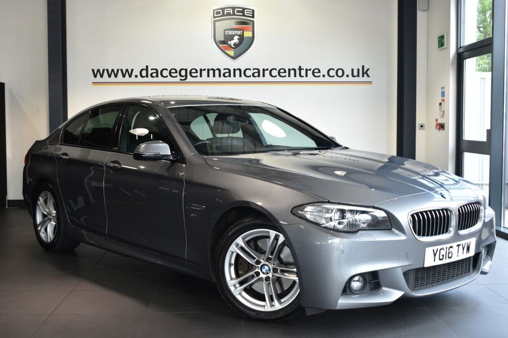 "USED 2016 16 BMW 5 SERIES 3.0 530D M SPORT 4DR AUTO 255 BHP Finished in a stunning space metallic grey styled with 18"" alloys. Upon opening the drivers door you are presented with full leather interior, full service history, pro satellite navigation, bluetooth, heated seats, reversing camera, DAB radio, cruise control, LED Fog lights, Headlight cleaning system, Automatic air conditioning, driving experience switch incl. ECO PRO, Ambient interior light, parking sensors, ULEZ EXEMPT"